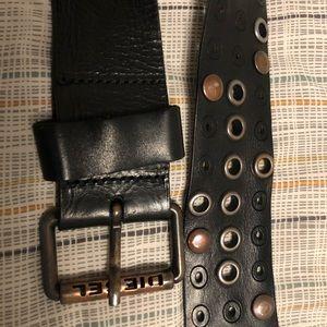 Men's Diesel Serie C Black Leather Belt